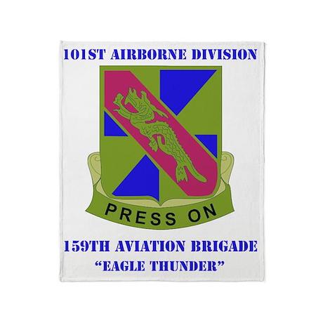 101st ab div 159TH AV BDE WITH TEXT Throw Blanket