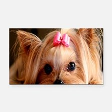 Yorkie greeting Rectangle Car Magnet