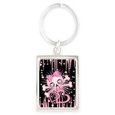 Pink Neon Skull IP3 Portrait Keychain