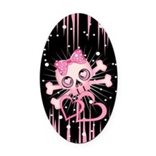 Pink Neon Skull IP3 Oval Car Magnet