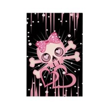 Pink Neon Skull IP3 Rectangle Magnet