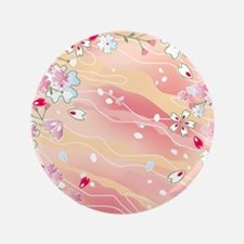 "Japanese pink cherry blossoms 3.5"" Button"