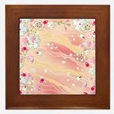 Japanese pink cherry blossoms Framed Tile