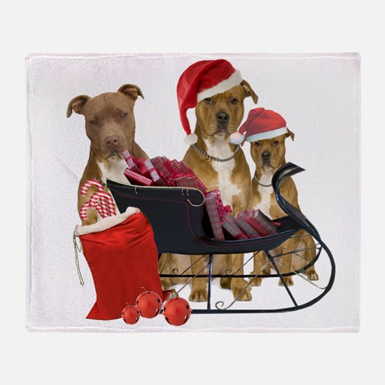 3 Pitbull with Sleigh Throw Blanket