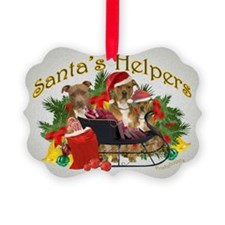Pitbull with Santa Sleigh with pi Ornament