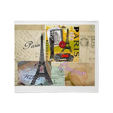 Paris Collage Gails Throw Blanket