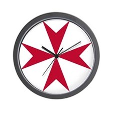 Cross of Malta - Red Wall Clock
