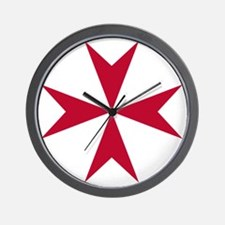 Cross of Malta - Red Wall Clock