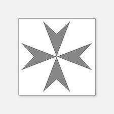 """Cross of Malta - Grey Square Sticker 3"""" x 3"""""""