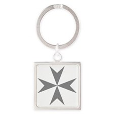 Cross of Malta - Grey Square Keychain
