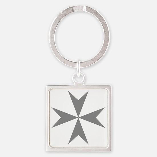 Cross of Malta - Grey Square Keychain
