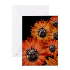 flower_pug+8x10 Greeting Card