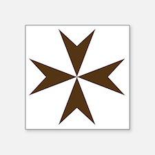 """Cross of Malta - Brown Square Sticker 3"""" x 3"""""""