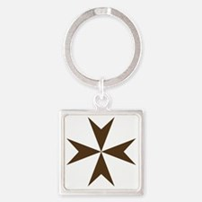 Cross of Malta - Brown Square Keychain