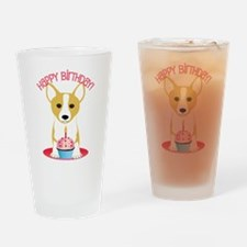 Happy Birthday Corgi Drinking Glass