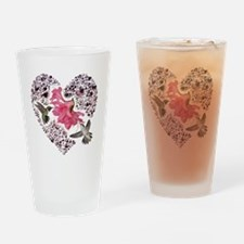 Himmingbirs on heart Drinking Glass
