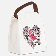 Himmingbirs on heart Canvas Lunch Bag