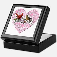 cardinals on heart Keepsake Box