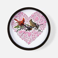 cardinals on heart Wall Clock