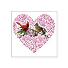 "cardinals on heart Square Sticker 3"" x 3"""