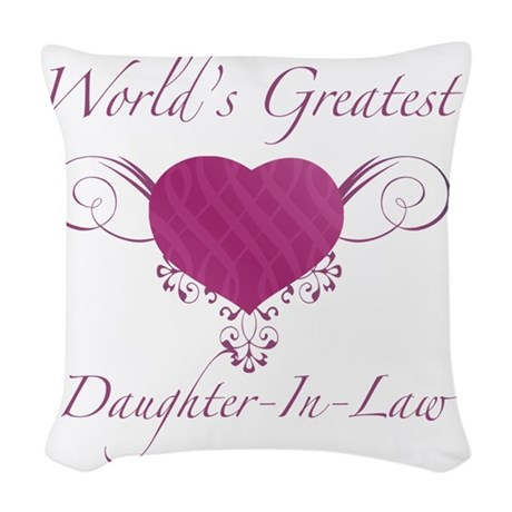 Heart_Daughter-In-Law Woven Throw Pillow