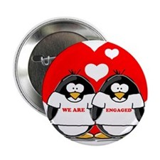 """We Are Engaged Penguins 2.25"""" Button (10 pack)"""