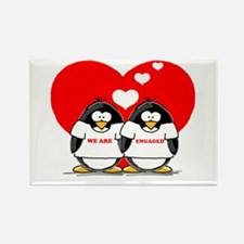 We Are Engaged Penguins Rectangle Magnet