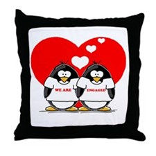 We Are Engaged Penguins Throw Pillow