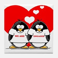 We Are Engaged Penguins Tile Coaster
