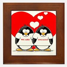 We Are Engaged Penguins Framed Tile
