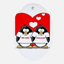 We Are Engaged Penguins Oval Ornament