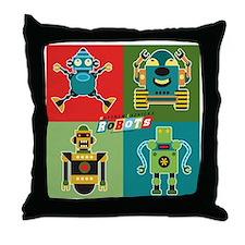 4 robots Throw Pillow