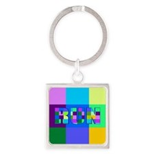 Run Squares Square Keychain