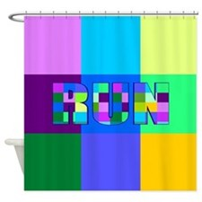 Run Squares Shower Curtain