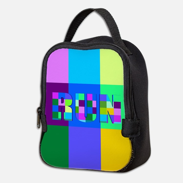 Run Squares Neoprene Lunch Bag