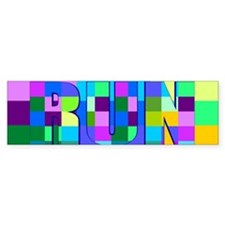 Run Squares Bumper Stickers