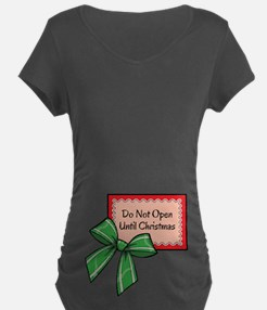 Do Not Open Until Christmas Red/Green Maternity T-