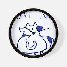 Eat no cow - blueb Wall Clock