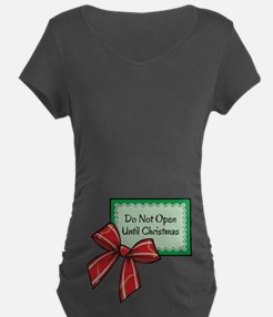 Do Not Open Until Christmas Green/Red Maternity T-