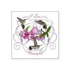 "I love hummingbirds 2 Square Sticker 3"" x 3"""