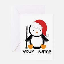 Personalized Christmas Clarinet Penguin Greeting C