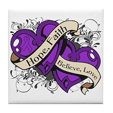 Crohns Disease Hope Hearts Tile Coaster