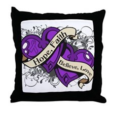 Crohns Disease Hope Hearts Throw Pillow