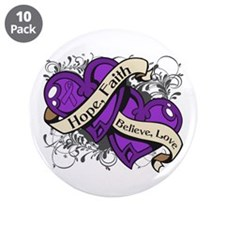 """Crohns Disease Hope Hearts 3.5"""" Button (10 pack)"""
