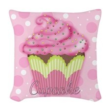 Pink Frosting Cupcake Sweet Woven Throw Pillow