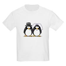 Bride and Groom Penguins Kids T-Shirt