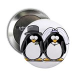 Bride and Groom Penguins Button