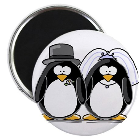 "Bride and Groom Penguins 2.25"" Magnet (10 pack)"