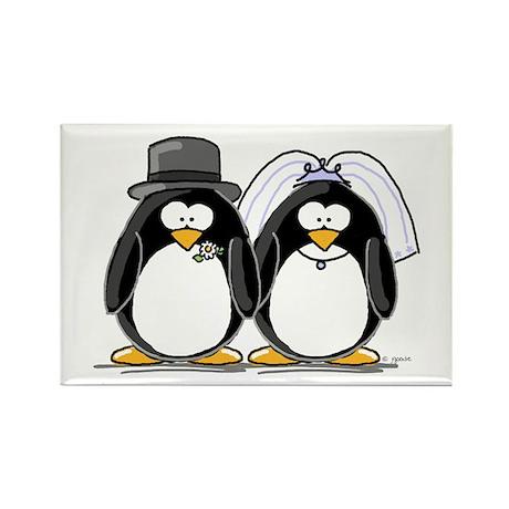 Bride and Groom Penguins Rectangle Magnet (10 pack