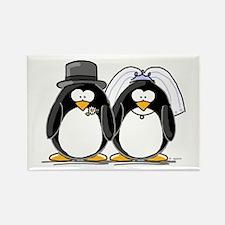 Bride and Groom Penguins Rectangle Magnet